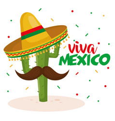 cactus with hat mexican culture vector image