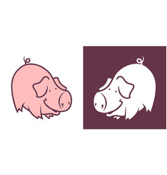 cartoon bowing pig character vector image