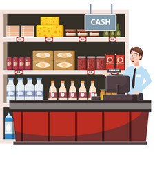 cashier behind cashier counter in interior vector image