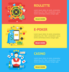 casino banner horizontal set symbol gambling game vector image