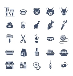 Cat care pet shop flat silhouettes icons vector