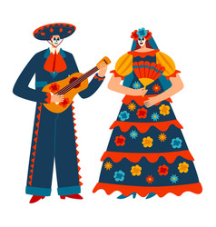 Character male female mexican costume motley vector