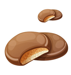 chocolaty coating covered cookies layered with vector image