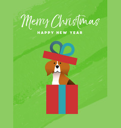 Christmas and new year holiday beagle dog card vector