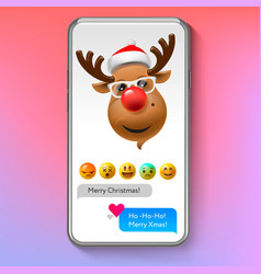 christmas emoji reindeer in santas hat holiday vector image