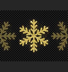 christmas golden snowflake glitter pattern black vector image