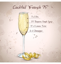 Cocktail French 75 vector