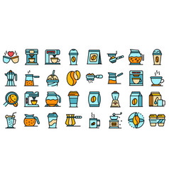 coffee icons set flat vector image