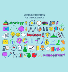 Colored infographic business icons collection vector