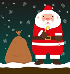 Cute fat big Santa Claus stand with Christmas bag vector