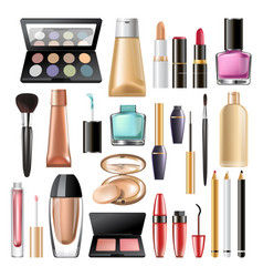 decorative cosmetics and makeup products mock up vector image