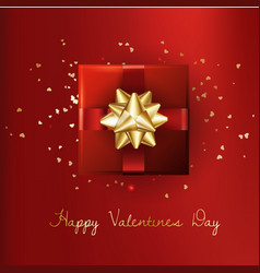 decorative gift box with gold bow valentines day vector image