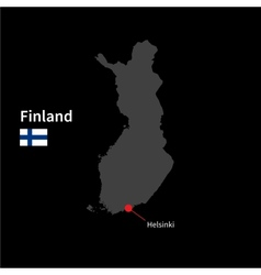 Detailed map of Finland and capital city Helsinki vector image