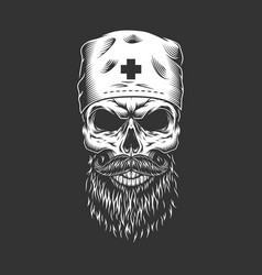Doctor skull with beard and mustache vector