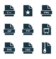 document icons set with document ttf favorite vector image