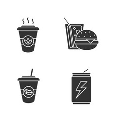 drinks glyph icons set vector image