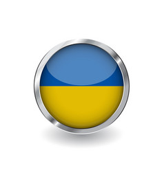 flag of ukraine button with metal frame and vector image