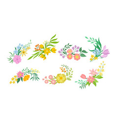 Floral arrangement with twigs and flowers vector
