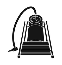 foot pump for car single icon in black style vector image