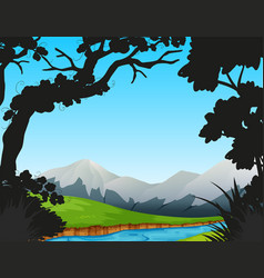 Forest scene with river and mountains vector