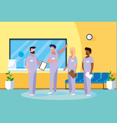 Group professionals doctors in hospital vector