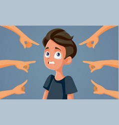 Guilty teen boy facing accusations vector