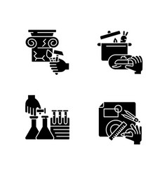 handmade black glyph icons set on white space vector image