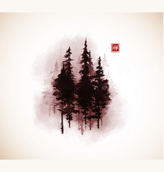 High pine trees in fog traditional oriental ink vector