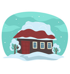 house rooftop covered with snow winter rural vector image