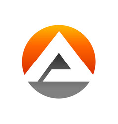 initial a lettermark pyramid in circle icon design vector image