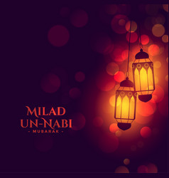 Islamic lamps milad un nabi festival wishes card vector