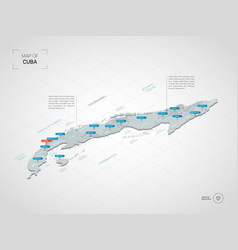 isometric cuba map with city names and vector image