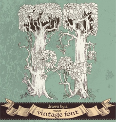 Magic grunge forest hand drawn by vintage font - H vector