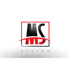 Ms m s logo letters with red and black colors and vector