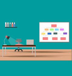Office desk with laptop and lamp interior design vector