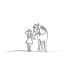 one line drawing girl feeding a horse vector image