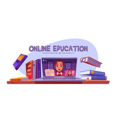 online education banner teacher conduct webinar vector image