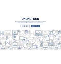 Online food banner design vector