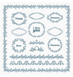Ornate frames and borders page elements vector image
