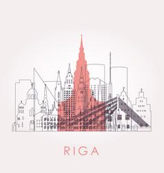 outline riga skyline with landmarks vector image