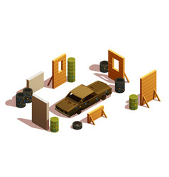 Paintball playground isometric composition vector