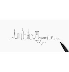 pen line silhouette tokyo vector image
