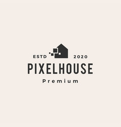pixel house hipster vintage logo icon vector image