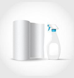 realistic spray bootle and paper towel vector image
