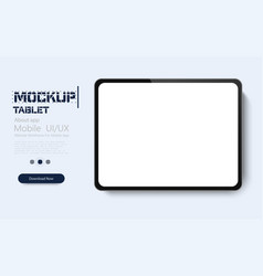 realistic tablet with white screen isolated on vector image