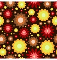 Red yellow and brown flowers pattern vector
