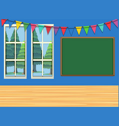 Room with board and flags vector