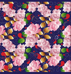 Roses seamless pattern floral dark blue vector