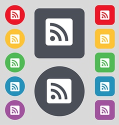 RSS feed icon sign A set of 12 colored buttons vector