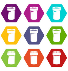 salt shaker icons set 9 vector image